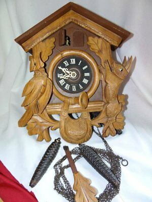 Vintage Hand Carved Double Cuckoo Clock Hunting Theme Made In West Germany