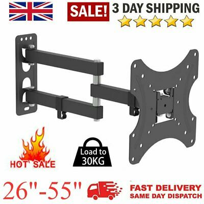 Triple 3 Tier Floating Glass Shelves for DVD SKY BOX TV Wall Mount Bracket Black
