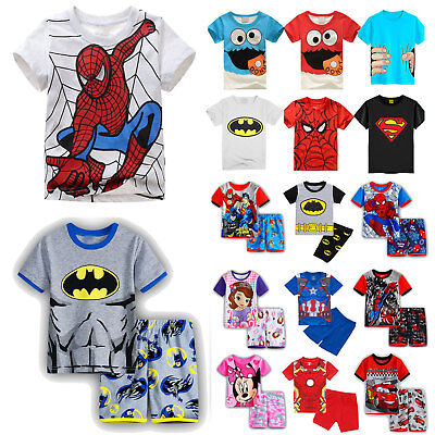 Toddler Kid Boy Short Sleeve Spiderman Cartoon T Shirt Shorts Sun Clothes Outfit