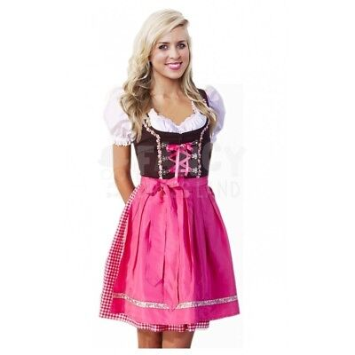 Womens Pink Dirndl Oktoberfest Dress Outfit Traditional German Costume