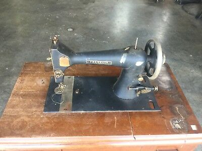 ANTIQUE FRANKLIN FOOT PEDAL SEWING MACHINE WITH SEARS And ROEBUCK SEWING STAND.