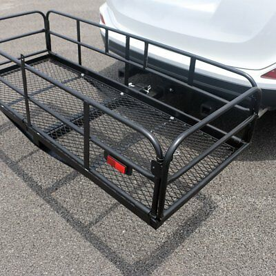 """60"""" x 23.5"""" """" Cargo Carrier Hitch Mount Folding Basket Luggage Rack 500lbs Load"""