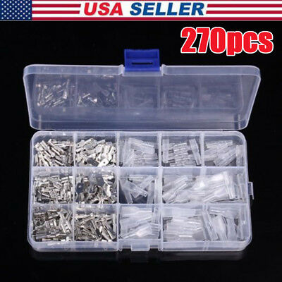 270 x Electrical Wire Crimp Connectors Male Female Spade Assortment Terminal Kit