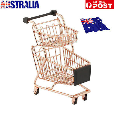 Mini Double layer Handcart Shopping Trolley Cart Toy  Craft Storage Rose Gold UR