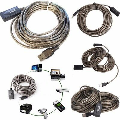 5M/10M/15M/20M Active USB 2.0 Male to Female Extension Repeater Cable LOT UK SHO