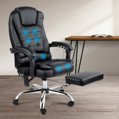 8 Point Massage Executive Office Chair Lumbar Computer Recliner Foot Rest Stool
