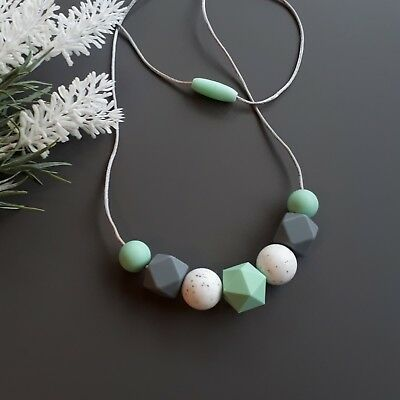 Silicone Sensory (was Teething) Necklace Mint White Grey Beads Gift For Mum