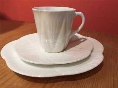 Shelley Dainty White China Trio Small Coffee Cup Saucer and Side Plate