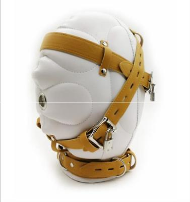 Lockable Leather Gimp Bandage Hood Sensory Deprivation Mask Mouth Gag