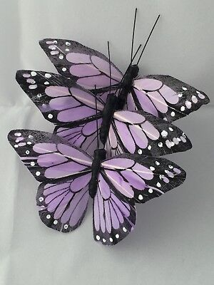 Feather Butterflies Lilac 25 Pieces Floristry Wedding Craft