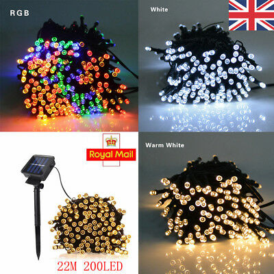 22M 200 LED Solar Power Fairy Lights String Garden Outdoor Party Wedding Xmas UK