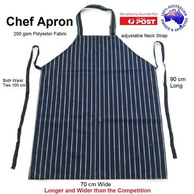 Chef Apron for Hospitality Cafe Kitchen Cooking Butcher New Blue White Stripe AU