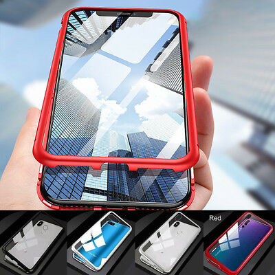 Tempered Glass Cover Magnetic Adsorption 360 Edge Metal Case For Huawei P20Pro