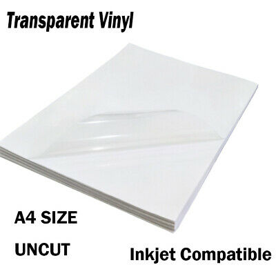Clear Inkjet Print Label Transparent Vinyl Glossy Sticky Back Plastic Film A4