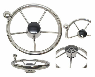 """316 Stainless Steel 11"""" Steering Wheel With Knob 5 Spoke for Marine Yacht Boat"""