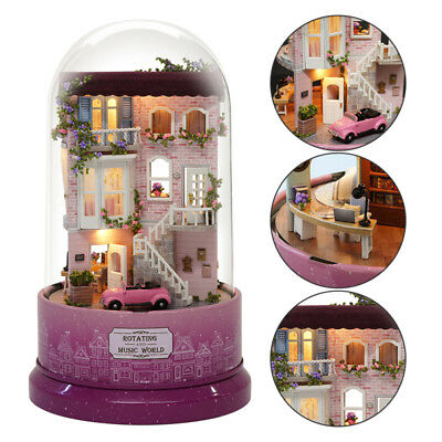 DIY Glass Doll House Crystal Ball Model Wooden Miniature Furniture Kit Xmas Gift