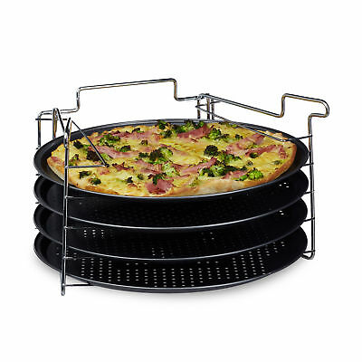 Pizzablech 4er Pizzaset Backblech rund Pizza Backset Pizzabäcker-Set Flammkuchen