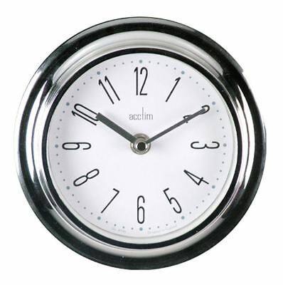 Acctim Riva Quartz Non Ticking Wall Battery Operated Analogue Clock - Chrome
