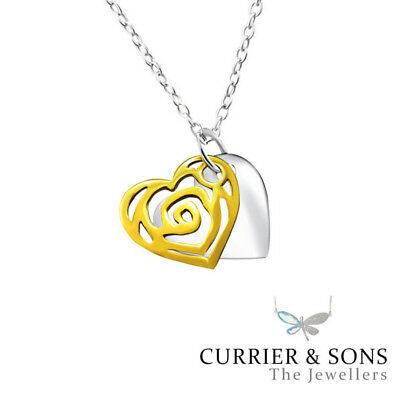 cae86257a 14ct Gold-Plated 925 Sterling Silver Heart Tag Pendant Necklace (45cm / 18  inch
