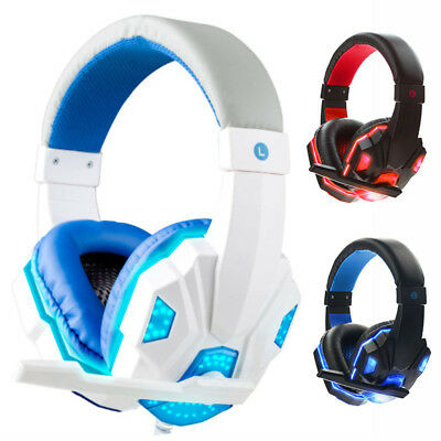 Cuffie da gioco Stereo Bass Surround Gaming Headphone Microfono LED per PC
