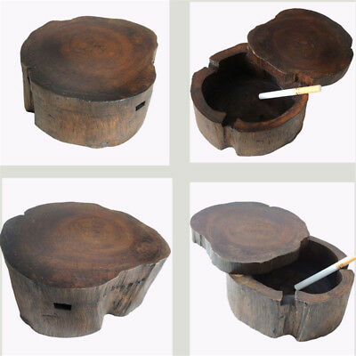 4.3'' Round Wooden Cigarette Ashtray Indoor Smoking Tray Tobacco Case With Lid