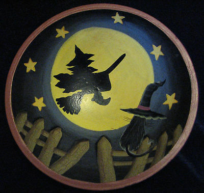 Wooden Halloween Bowl of a Witch & Cat - Collectible - Free Shipping!