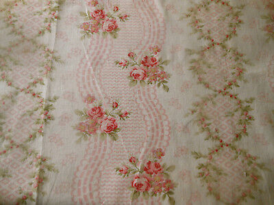 Antique Beautiful French Roses Garland Cotton Fabric ~ Pink Green