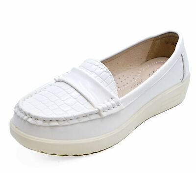 Ladies White Slip-On Loafers Moccasin Casual Smart Work Comfy Deck Shoes 2-8