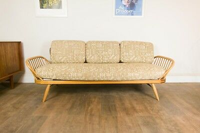 Vintage Retro Ercol Light Elm Studio Couch Daybed