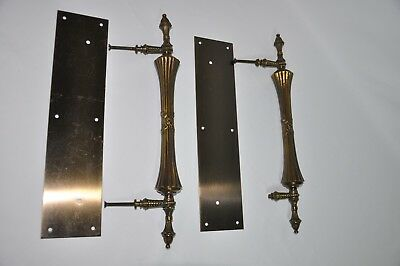 "Set Of 2  17"" Antique Solid Brass Ornate Door Pulls W/plates   Very Nice"