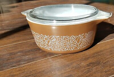 Vintage Pyrex Glass Woodland Brown 475-B Nesting Bowl Casserole Dish 2.5 L w/Lid