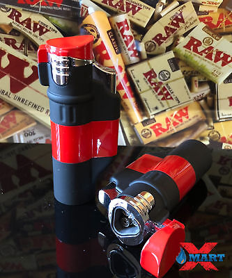 Red Triple Torch Jet Flame Cigarette Lighter Windproof Refillable Butane