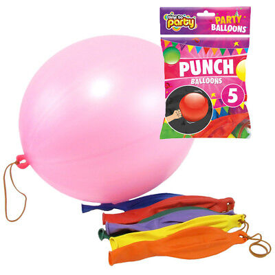 """Packs Of 5 Assorted Colour Plain 18"""" Stretchy Punch Balloons With Bands"""