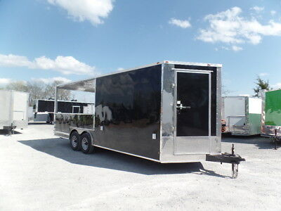 Completion BBQ 8.5x20 Black Porch Style Concession Trailer
