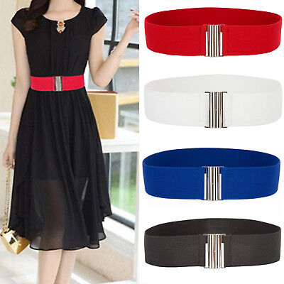 Retro Women Stretch Waist Belt Wide Elastic Buckle Dress Metal Waistband Fashion