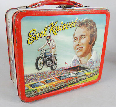 Evel Knievel lunch box metal tin 1974 no thermos motorcycle daredevil lunchbox