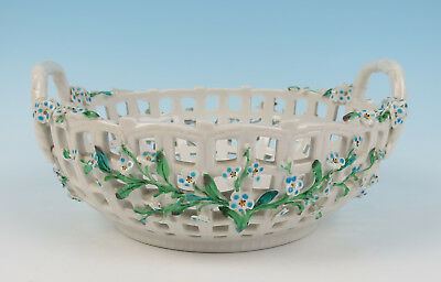 Antique Reticulated Porcelain Bowl Applied Forget-Me-Not Flowers German Dresden
