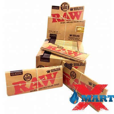 12 Packs RAW Classic King Supreme Cigarette Rolling Paper Papers