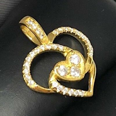 Vintage Antique White Round Diamond Heart Pendant SOLID 14k Yellow Gold Jewelry