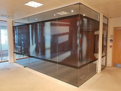 6.52 METRE WIDE OFFICE or ROOM DIVIDING TOUGHENED GLASS PARTITION - £640 inc VAT