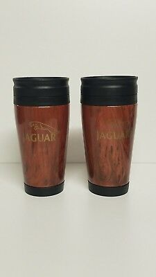Pair Jaguar Car Wood Grain  16 oz Insulated Travel Coffee Tea Drink Mugs Cups