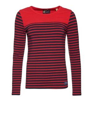 9# Superdry women's Hillgate Breton Top Sunset Red Large (14)