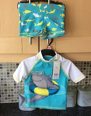 Baby Boys 2 Piece Shark Swim Cover Up With 50+ Sun Protection Age 18/24 Months