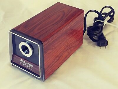 Vintage Panasonic KP-120 Auto Stop Woodgrain Electric Pencil Sharpener Japan