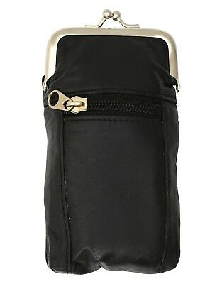 Black Design Genuine Leather Cigarette Case Holder and Zipped Lighter Pouch