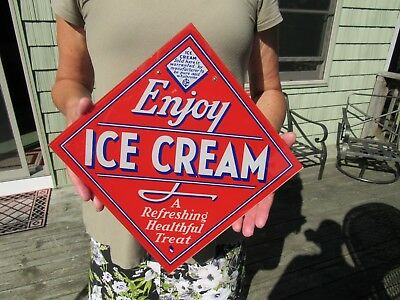 "Original Vintage ""enjoy Ice Cream"" Reverse Painted Glass Hanging Sign"