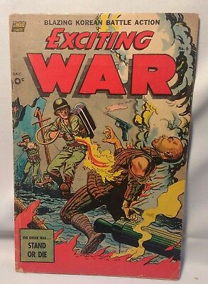Rare 1952 Standard EXCITING WAR #6 *Classic FLAME THROWER BURNING MAN Cover Mid
