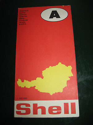Vintage Shell Folding Map of Austria 1975 Printed in Germany Road City Map
