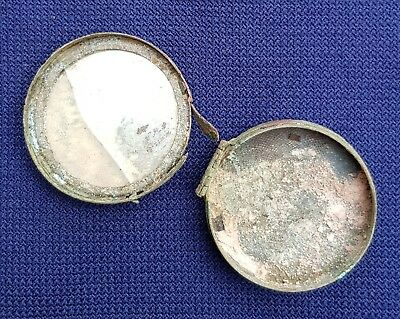 Antique Facial Make-Up Powder Box With Small Mirror Late 1800's. Detector find.