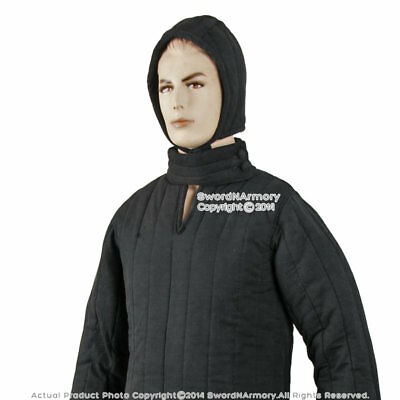 Black Type 8 Medieval Renactment Padded Armour Coat LARP SCA WMA Arming Jacket